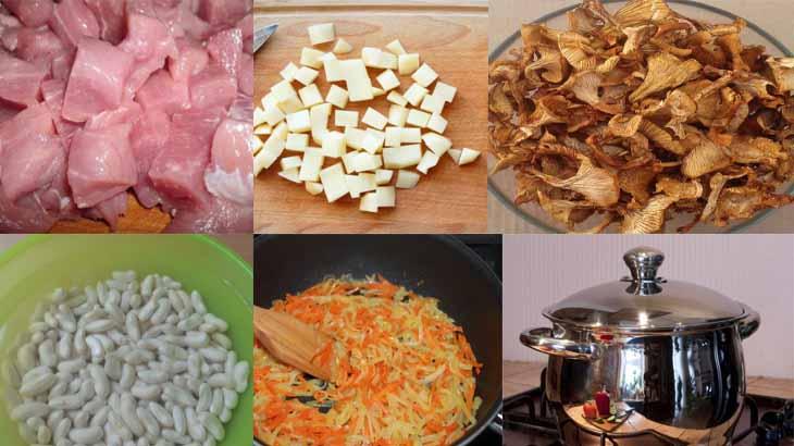 Приготовление супа с фасолью и свининой