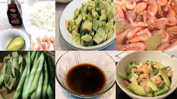 Приготовление салата «Калифорния ролл»