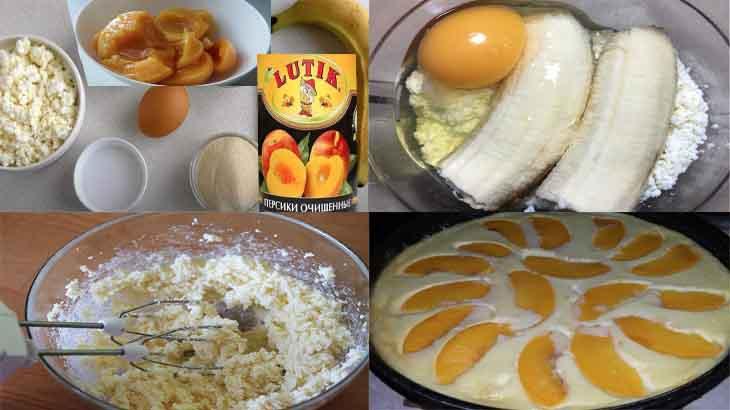 Приготовление творожной запеканки с персиками