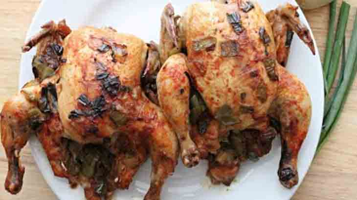 Жареные цыплята с опятами