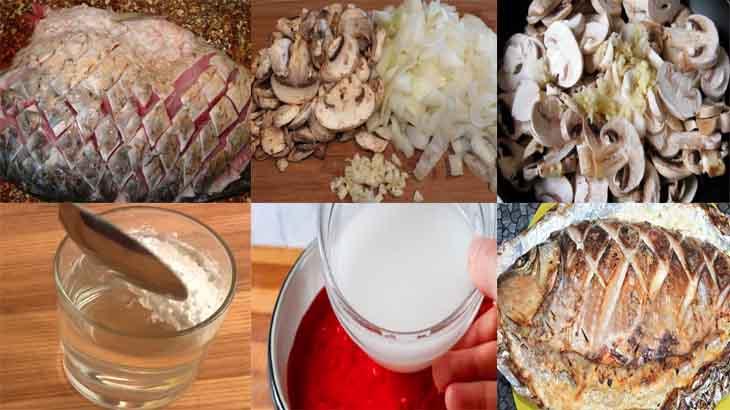 Приготовление карпа с грибами и овощами