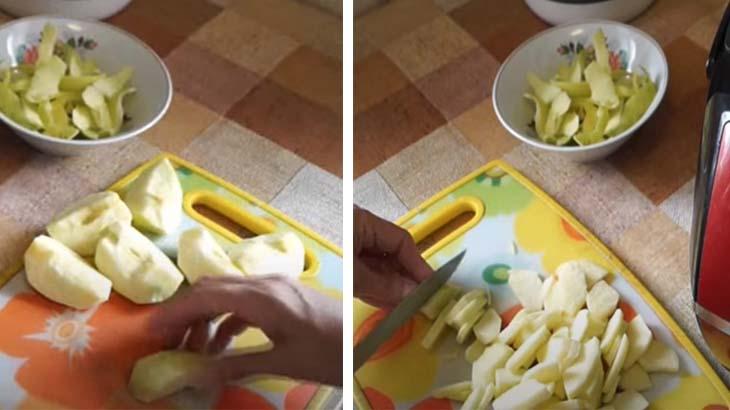 Яблоки на разделочной доске