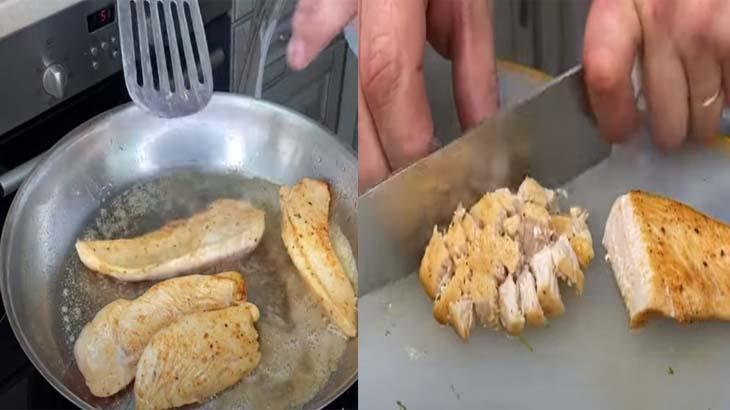Обжарка куриного филе на сковороде
